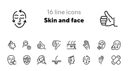 Skin and face line icon set. Woman, rash, hair follicle, cream, acne. Skin care concept. Can be used for topics like cosmetics, beauty salon, dermatology Ilustração