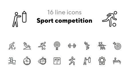 Sport competition icons. Set of line icons. Gym lockers, barbell, swimming pool. Sports activity concept. Vector illustration can be used for topic like professional sport, physical activity, training Ilustracja
