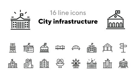 City infrastructure line icon set. Hospital, government, bridge, fountain. Buildings concept. Can be used for topics like urban life, town, architecture Ilustrace