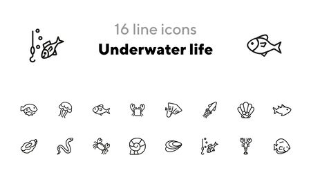 Underwater life line icon set. Fish, crab, eel. Nature concept. Can be used for topics like fishing, seafood, marine biology