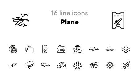 Plane line icon set. Aircraft, globe, cloud. Transport concept. Can be used for topics like flight, travel, logistics