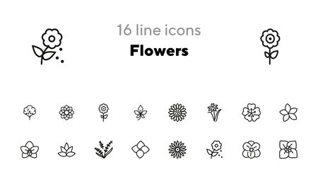 Flowers line icon set. Daffodil, gerbera, lavender. Nature concept. Can be used for topics like blossoming, spring, summer, plants