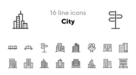 City line icon set. Skyscraper, bridge, fountain. Buildings concept. Can be used for topics like urban life, town, apartment house Ilustrace