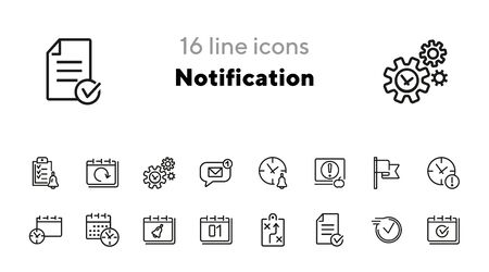 Notification line icon set. Calendar, bell, clock, watch. Time management concept. Can be used for topics like alarm clock, deadline, planning, schedule