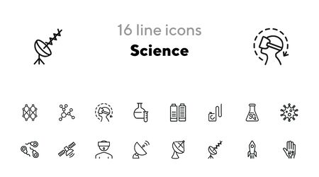 Science line icon set. Set of line icons on white background. Space concept. Antennae, satellite, rocket. Vector illustration can be used for topics like space ship, space travelling, science Reklamní fotografie - 140618469