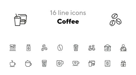 Coffee line icon set. Beans, cup, cappuccino. Drink concept. Can be used for topics like morning, coffee break, coffee shop