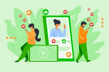 Social media popularity. Users giving likes to picture, post, profile flat vector illustration. Network, internet, blogging concept for banner, website design or landing web page Ilustrace
