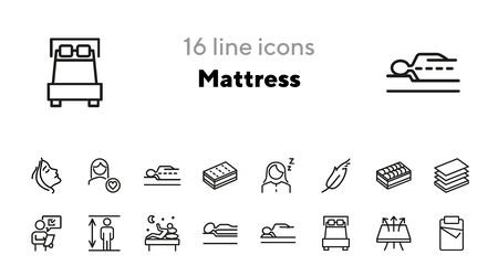 Mattress line icon set. Orthopedic pillow, sleeping, insomnia. Comfort concept. Can be used for topics like bedroom, night, rest Ilustracja