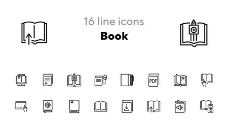Book icon set. Line icons collection on white background. Reading, information, knowledge. Education concept. Can be used for topics like school, literature, bookstore