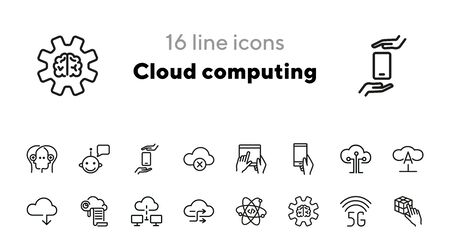 Cloud computing line icon set. Bot, circuit board, print, gear, gadget. Information technology concept. Can be used for topics like communication, internet, data storage Ilustração