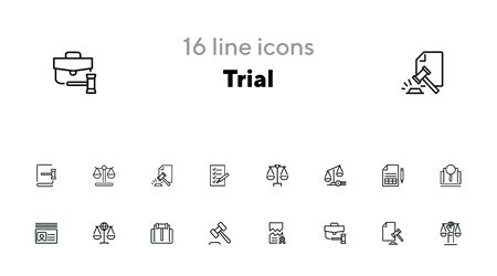 Trial line icon set. Scale, judge gavel, case. Justice concept. Can be used for topics like courthouse, court, law