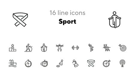 Sport line icon set. Stopwatch, rope pulling, check mark. Competition concept. Can be used for topics like leadership, target, goal achieving