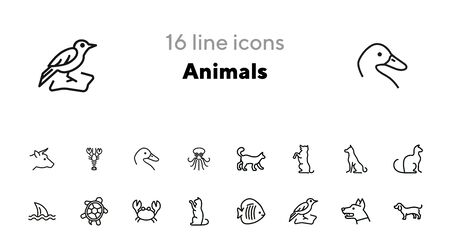 Animals line icon set. Cat, dog, shark, turtle. Nature concept. Can be used for topics like wildlife, pets, sea life