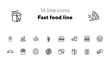 Fast food line icon set. Set of line icons on white background. Pizza, coffee, sandwich, burger. Food concept. Vector illustration can be used for topics like food, street cafe, snack Illustration