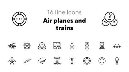 Air planes and trains icons. Set of line icons on white background. Transport concept. Vector illustration can be used for topics like modern life, travelling