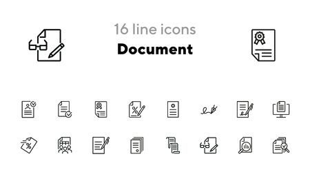 Document line icon set. Statistics, examination, report. Expertise concept. Can be used for topics like signing contract, paperwork, business analysis Иллюстрация