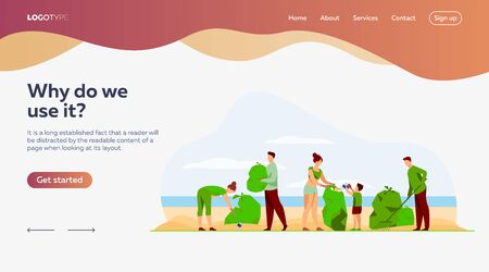 Eco volunteers cleaning sea or ocean beach from garbage. People, family with child collecting trash and sorting waste outdoors. Vector illustration for ecology, planet, nature Ilustração