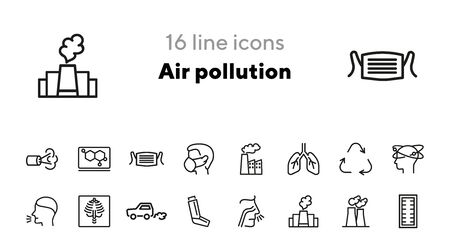 Air pollution icons. Set of line icons. Air filter, allergy, asthma inhaler. Environmental pollution concept. Vector illustration can be used for topics like environment, nature, pollution Illustration