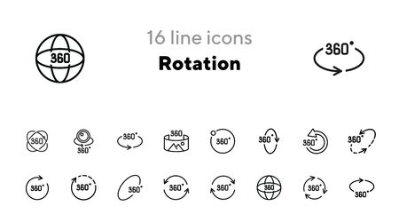 Rotation line icon set. Set of line icons. Geometry and design concept. Rotation, arrow, three hundred and sixty degree. Vector illustration for topics like geometry, design, science