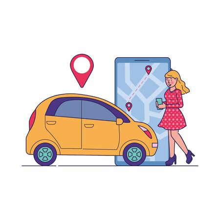 Female driver using car sharing service. Woman searching taxi or transport for rent with map location app. Vector illustration for transfer, transportation, urban, application concept