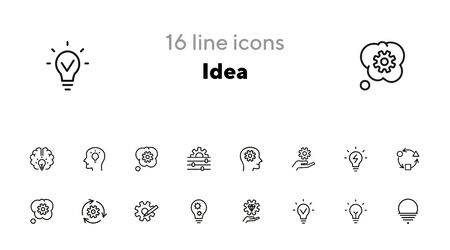 Idea line icon set. Bulb, gear, brain work. Processing concept. Can be used for topics like intelligence, business, startup