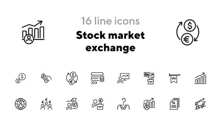 Stock market exchange line icon set. Growth chart, trader, investor, portfolio. Finance concept. Can be used for topics like analysis, investment, head hunting, trade