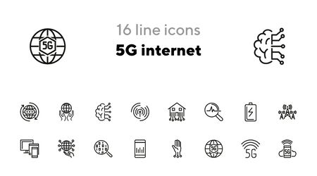 5G internet line icon set. Smartphone, globe, signal analysis. Communication concept. Can be used for topics like technology, connection, telecommunication