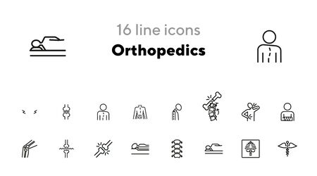 Orthopedics line icon set. Broken bones, spine, joint, mattress. Health concept. Can be used for topics like medicine, medical help, health care