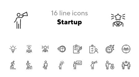 Startup icon. Set of line icons on white background. Plan, target audience, promotion. Project concept. Vector illustration can be used for topics like business, management, marketing