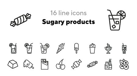 Sugary products line icon set. Soda, lemonade, ice cream, chocolate, candy, fruit, sweets. Food concept. Can be used for topics like confection, unhealthy diet, addiction
