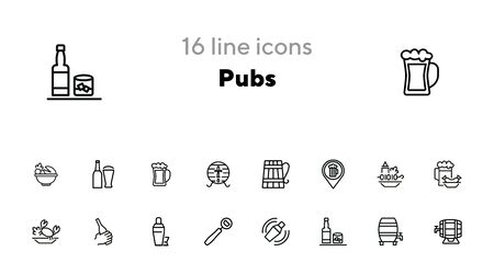 Pubs line icon set. Set of line icons on white background. Cocktail, beer mug, fresh crab. Food concept. Vector illustration can be used for topics like eating, drinking, resting Ilustrace