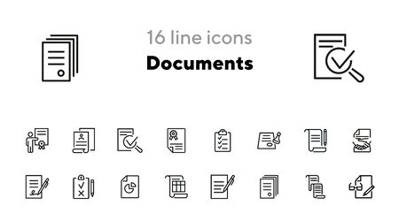 Documents line icon set. Set of line icons on white background. Office concept. Contract, report, clipboard. Vector illustration can be used for topics like office job, meeting, postal 일러스트