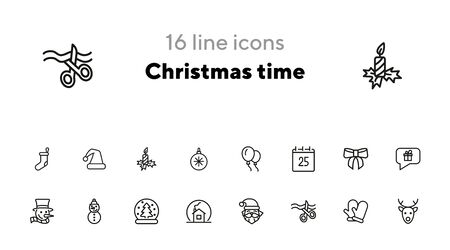 Christmas time line icon set. Set of line icons on white background. Festive concept. Snowman, Santa Claus, calendar. Vector illustration can be used for topics like Christmas, new year, decoration Illustration
