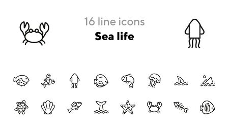 Sea life line icon set. Fish, shark, turtle. Wildlife concept. Can be used for topics like seafood, ecology, fishing