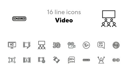 Video line icon set. Set of line icons on white background. Blogging concept. Camera, play, button, chat. Vector illustration can be used for topics like video, blogging, creating