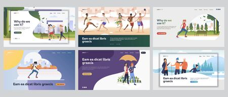 Active lifestyle set. Young people roller skating, dancing on beach, hiking. Flat vector illustrations. Outdoor activities, summer, winter concept for banner, website design or landing web page