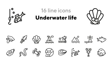 Underwater life line icon set. Fish, crab, seascape. Nature concept. Can be used for topics like sea, ocean life, vacation, fishing, scuba diving