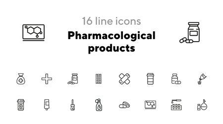 Pharmacological products icon set. Drugstore concept. Vector illustration can be used for topics like apothecary, pharmaceuticals, medicine Ilustração