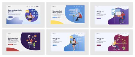 Set of stressed employees overworking and failing tasks. Flat vector illustrations of people developing project in deadline. Deadline, pressure concept for banner, website design or landing web page Banque d'images - 140644876