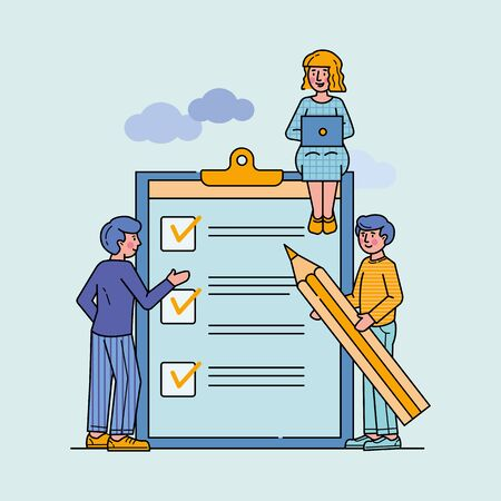Business people standing at clipboard with checklist flat vector illustration. Filling check boxes with marks by pencil. Online survey, scheduling and voting concept.