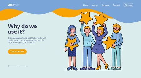 Customer review evaluation flat vector illustration. Quality rating with stars. Consumer feedback and satisfaction concept. People holding stars over heads. Illustration