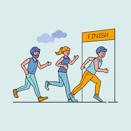 Group of sportsmen running marathon vector illustration. Sprinters crossing finish line, sport-jogging tournament. Healthy lifestyle and outdoor summer activity concept. Ilustracja