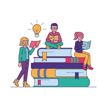 People reading books for study vector illustration. Students looking for information in library literature. Bookworms sitting at giant book pile. Education and learning concept.