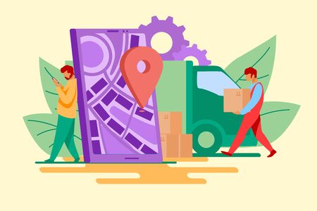 Delivery man and recipient who leaning on smartphone with pin. Door to door delivery by courier flat vector illustration. Delivery service concept for banner, website design or landing web page