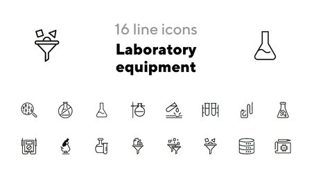 Laboratory equipment icons. Set of line icons on white background. Science concept. Vector illustration can be used for topics like investigation, experiment Ilustrace
