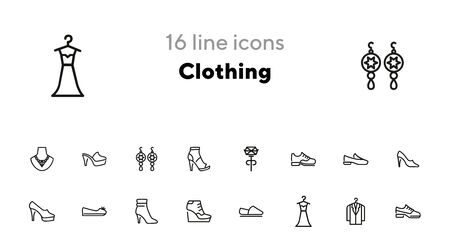 Clothing line icon set. Set of line icons on white background. Shoes, dress, high heels. Festive evening concept. Vector illustration can be used for topics like evening, celebration, black tie