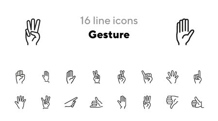 Gesture icon. Set of line icons on white background. Thumb up, open palm, direction. Hand sign concept. Vector illustration can be used for topics like communication, finger language, symbols Vectores