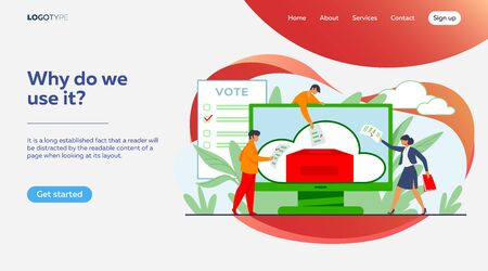 Online or electronic voting. Voters throwing forms into ballot box on monitor flat vector illustration. Election campaign, internet technology concept for banner, website design or landing web page