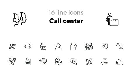 Call center line icon set. Operator, employee, contact center. Customer service concept. Can be used for topics like hotline, consulting, support Ilustracja