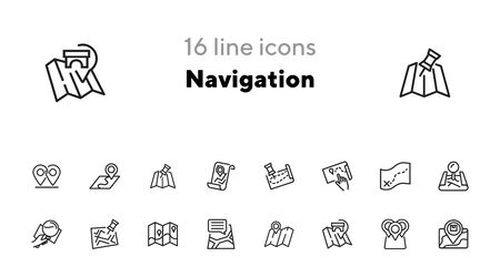 Navigation icon. Set of line icons on white background. Map, route, location. Guide concept. Vector illustration can be used for topics like travel, tourism, destination